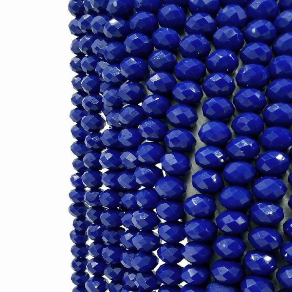 98 pcs x 6mm Glass Faceted Rondelle Opaque Dark Blue 117